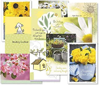 Get Well Greeting Cards Value Pack- Set of 20 (10 designs) Large 5 x 7, Sentiments Inside, Get Well Soon Cards, Get Well Wishes, Envelopes Included
