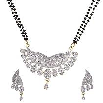 Zeneme Mangalsutra Cz Studded Tanmaniya Nallapusalu Pendant With Earrings And Black Bead Chain For Women