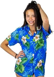 Funky Hawaiian Shirt Blouse Women Shortsleeve Frontpocket Hawaiian-Print Leaves Flowers Allover