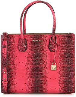 Michael Kors Studio Mercer Snake Medium Large Convertible Tote Ultra Pink Leather Bag New