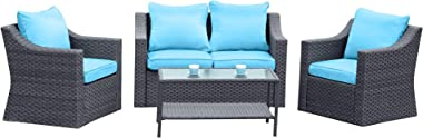5 Piece Outdoor Patio Conversation Furniture Sets, Stamo All Weather Black PE Rattan Wicker Cushioned Sectional Sofa Chairs with Glass Table, Olefin Blue Cushion