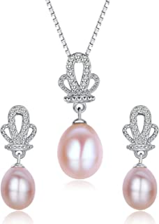 Stunning Flawless Pearl Stud Earrings & Silver Chain Pendant Set| Impeccable Quality Natural Flawless Freshwater Pearl & 925 Sterling Silver| The Most Unique Fashion Jewelry Set (2 | Pink Pearls)