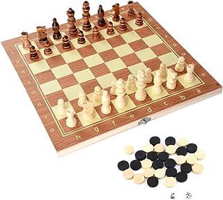 Alomejor Tablero de ajedrez de Madera Tablero de ajedrez Profesional Torneo Tablero de Fieltro Plegable Tablero de Almacenamiento Interior