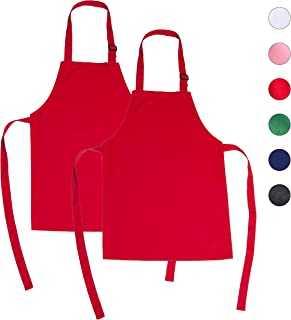 ONEOMI Kids Apron, Medium, 100% Cotton with an Adjustable Strap to fit All Ages, Ideal for Cooking, Baking, Painting, Decorating, Party, Chef, Art and Classroom Children Apron (2, Red)