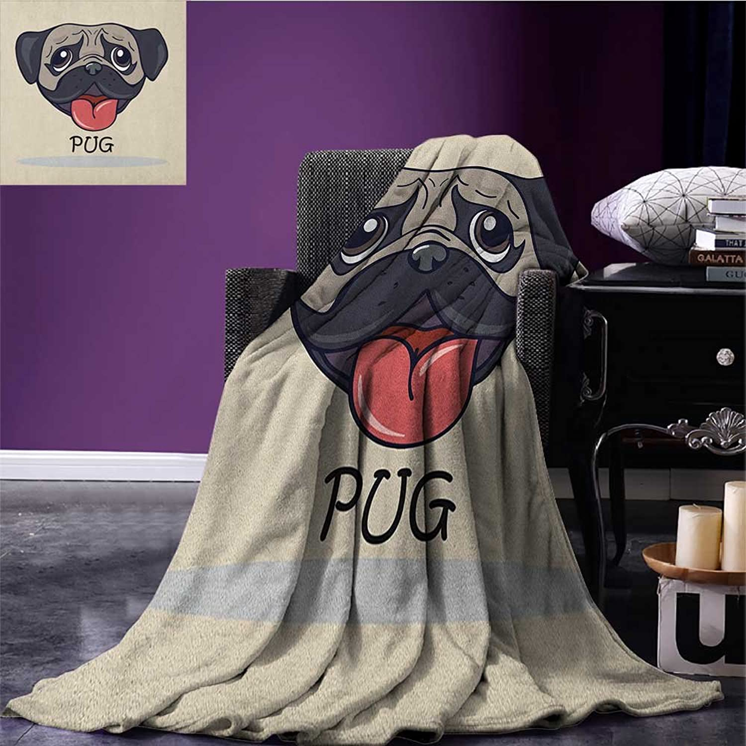 Pug Printed Blanket Cartoon Pug Dog Caricature with Its Tongue Out Happy Face Animal Fun Illustration Minion Blanket Taupe Black Red Size 59 x35.5