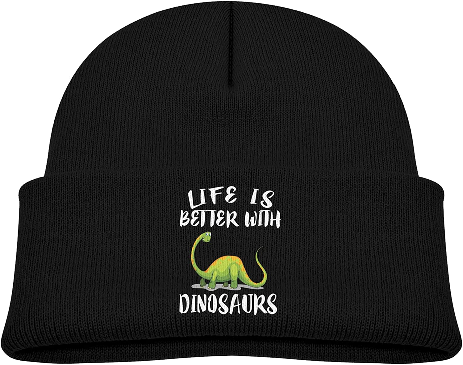 Life is Better Austin Mall with Dinosaurs Hat 2021 new Knitted Woolen Children's