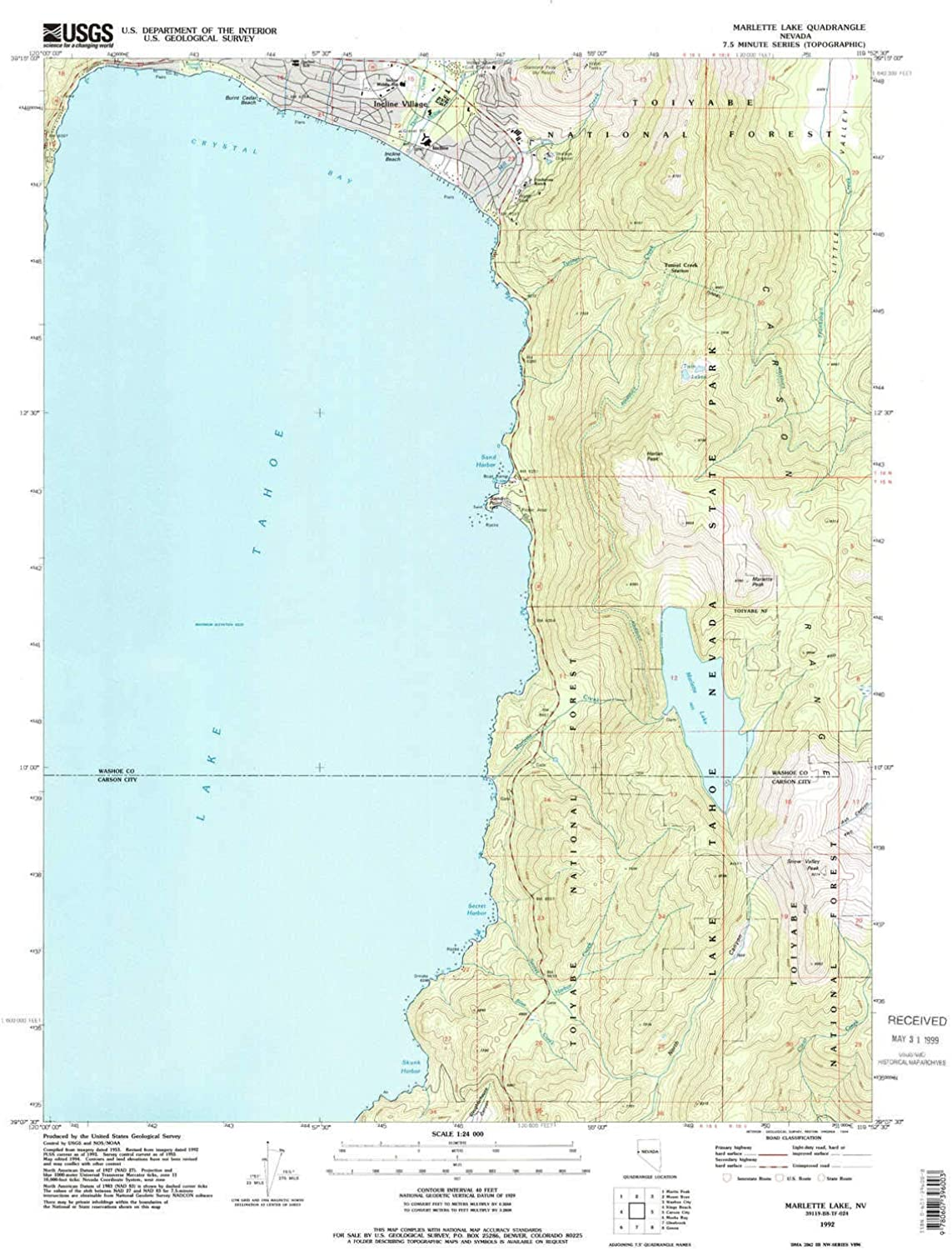 Marlette Lake NV topo map, 1 24000 Scale, 7.5 X 7.5 Minute, Historical, 1992, Updated 1994, 26.9 x 22 in