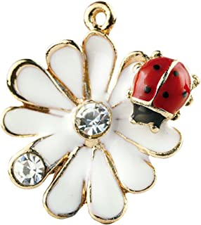 Creative DIY Daisy Ladybug Crystal Charms Pendants Wholesale (Set of 3) MH445