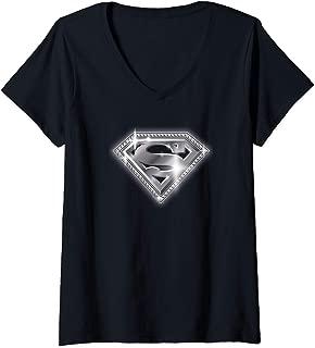 Womens Superman Bling Shield V-Neck T-Shirt