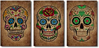 Skull Abstract Wall Art – 3 Panels Sugar Skull Day of The Dead Contemporary Art Design Home Decoration Stretched Gallery Canvas Wrap Print Ready to Hang (Skull, 16x24x3pcs)