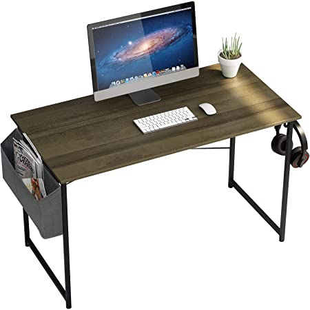 SogesHome Escritorio de ordenador, mesa de trabajo para el hogar con bolsillo lateral de tela, escritorio de estudio para computadora portátil y estación de trabajo120 x 60, SH-AGJJ-D01-120T