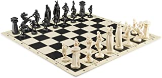 "Viking Chess Set - Chess Board B/W- Size 17,3"" + Roman Chess Pieces 3,75"" B/W"
