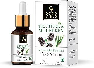 Good Vibes Tea Tree & Mulberry Oil Control & Skin Glow Face Serum, 10 ml Light Weight Moisturizing Face Serum For Oily Ski...