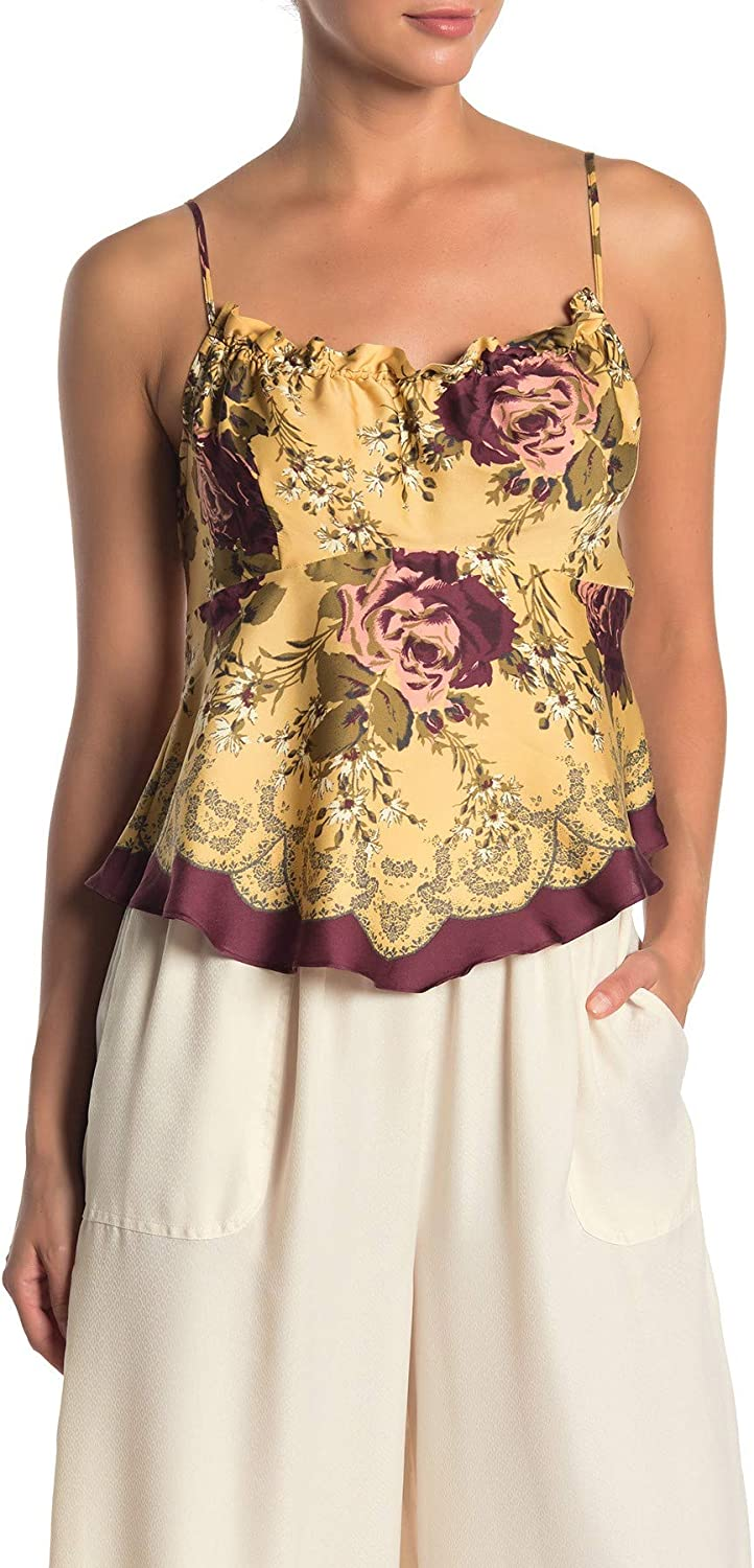 FREE PEOPLE Women's Floral Halter Camisole Tank Shirt Top