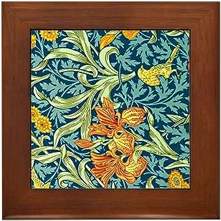 CafePress William Morris Design: Iris Floral Pat Framed Tile, Decorative Tile Wall Hanging