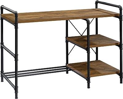 "Sauder Iron City Desk, L: 47.48"" x W: 23.23"" x H: 33.23"", Checked Oak"