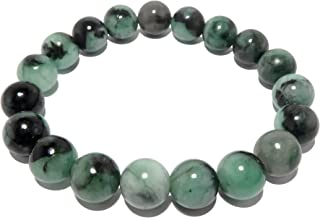 Emerald Bracelet 9mm Boutique Genuine Untreated Gemstone Green Black Royal Round Stone Stretch B01 (6.5