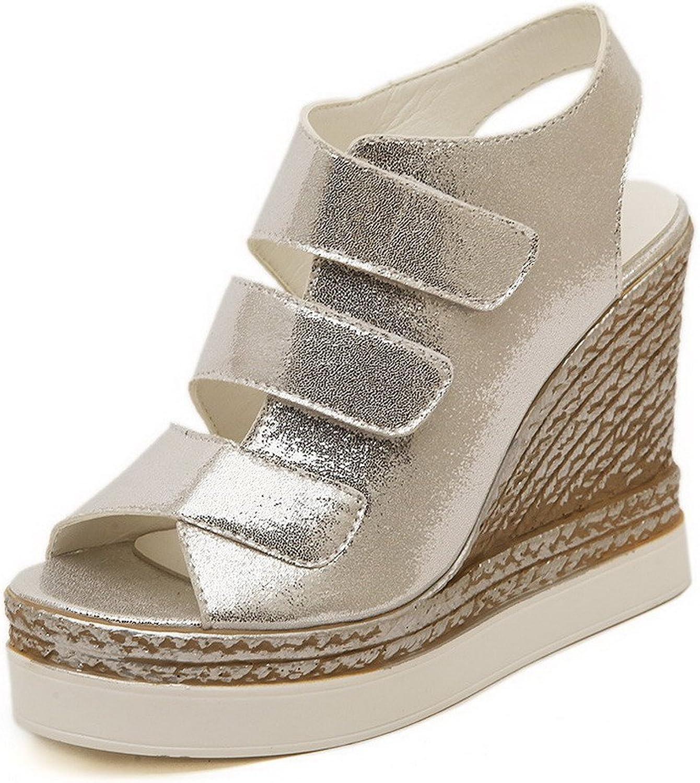 AmoonyFashion Women's Soft Material Hook-and-Loop Peep Toe High-Heels Solid Sandals