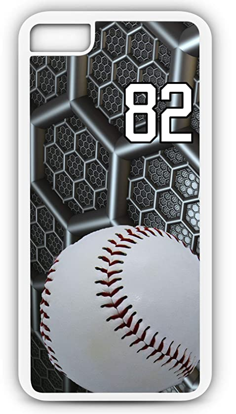 iPhone 6s Case Baseball B038Z Choice of Any Personalized Name or Number Tough Phone Case by TYD Designs in White Plastic and Black Rubber with Team Jersey Number 82