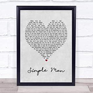 Simple Man Grey Heart Song Lyric Quote Print