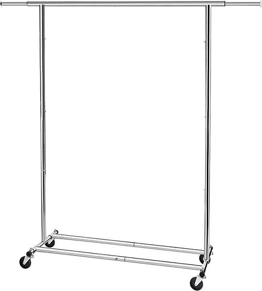 Simple Trending Clothes Garment Rack Heavy Duty Commercial Grade Clothing Rolling Rack On Wheels With Expandable Collapsible Clothing Rack Holds Up To 150 Lbs Chrome