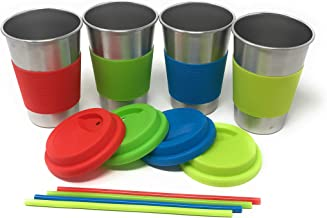 UpPeak 4 Pack 16 oz Stainless Steel Cups with Lids and Straws, ECO, BPA Free Drinking Tumblers 16 oz Multi UPPEAK003