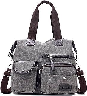 Gindoly Damen Canvas Handtasche Groß Modisch Umhängetasche Multi Tasche Schultertasche Hobo für Reisen Schule Shopping und...
