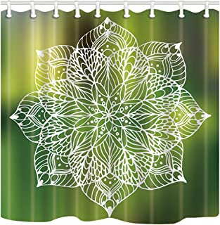 ChuaMi Bohemian Shower Curtain, White Mandala Petal Print, Green Background Floral Theme, Bathroom Decor Design Polyester Fabric 69 x 70 Inches with 12 Hooks