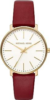 Michael Kors MK2749 Reloj para Mujer, Correa Piel Rojo, Caratula Blanco, Análogo