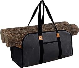 Saco de madeira para lareira Saco de armazenamento de lenha ao ar livre Saco de transporte para lenha Bolsa de lona portát...