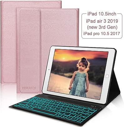 DINGRICH Tastatur H lle 10 5 Kompatibel mit New iPad Air 2019  iPad Pro 10 5 inch 2017- Hinterleuchtet- Wireless Tastatur QWERTZ Deutsches   Magnetischen Schlaf Wach  iPad H lle mit Tastatur