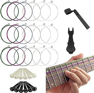 32PCS Guitar Accessories Kit Include Acoustic Guitar Strings String Winder Plastic Bridge Pins Pin Puller, Replace Tool Kit for Guitar Beginner