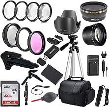 بسته لوازم جانبی دوربین Commander Optics Premium DSLR با فیلترهای 58 میلی متری ، لنزها ، کارت SD 32 گیگابایتی Sandisk و موارد دیگر برای کیت لنزهای Canon Rebel T6 ، T7 ، T3 ، T5 ، T100 ، 2000D و EOS 4000D 58MM LP-E10