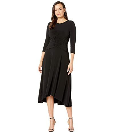 Maggy London Solid Jersey Ruched Center Front Dress (Black) Women
