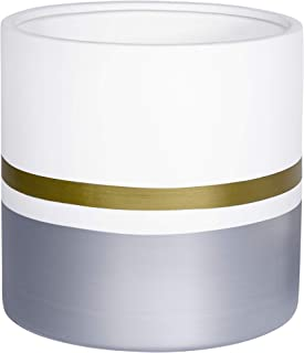 10 Inches Large White Ceramic Flower Pot Indoor Planters Plant Holder, with Drainage Hole, Gold Trim and Silver Detailing, by D'vine Dev