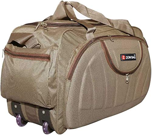 Waterproof Polyester Lightweight 60 L Luggage Brown Travel Duffel Bag With 2 Wheels
