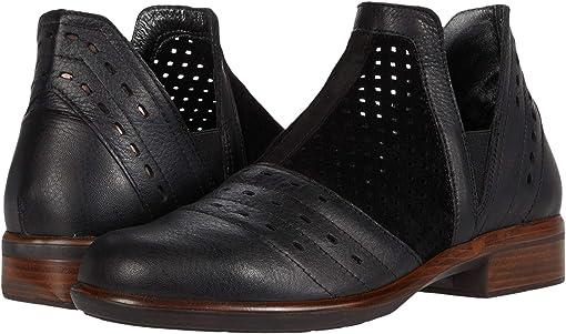 Black Suede Perforated/Soft Black Leather/Black Velvet Nubuck