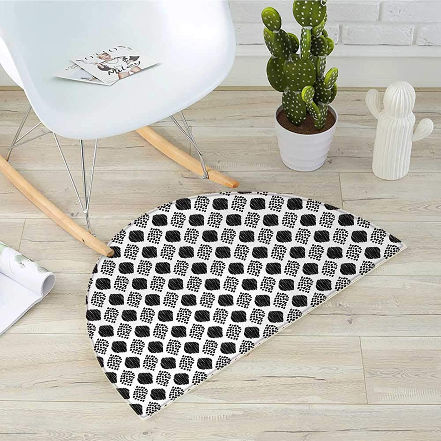 Black and White Semicircle Doormat Scribble Pattern with Abstract Black Dotted Leaves on White Background Halfmoon doormats H 39.3  xD 59  Black White