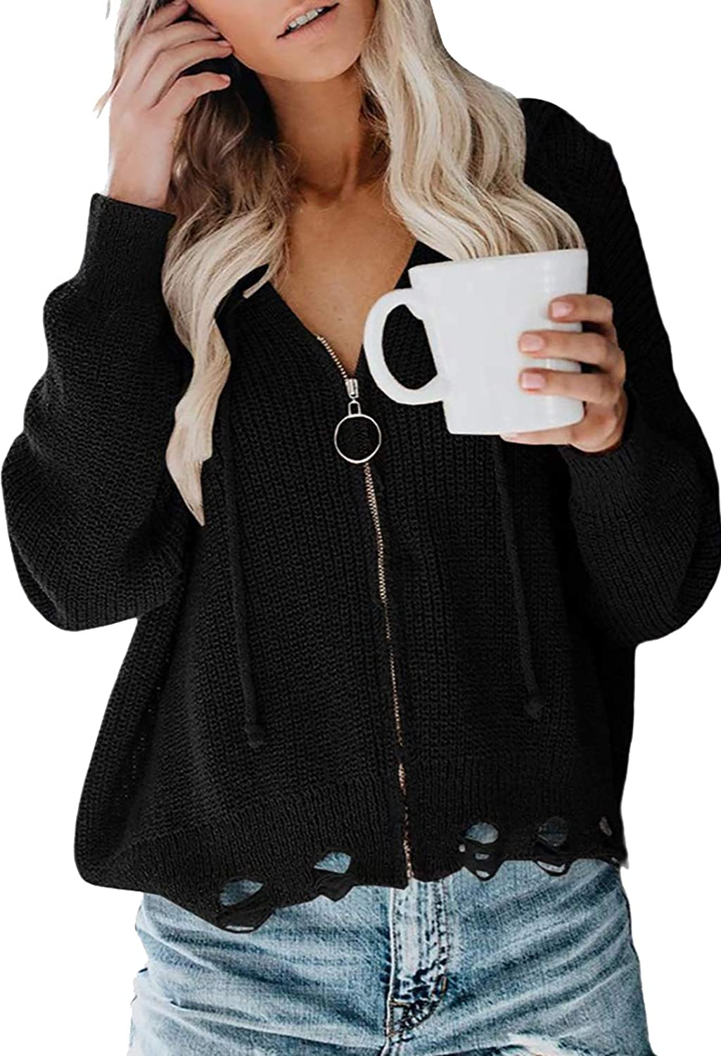 Women's Hooded Cardigan Sweaters Oversized Batwing Long Sleeve Knit Zip Up Open Front Knitted Jacket Coat