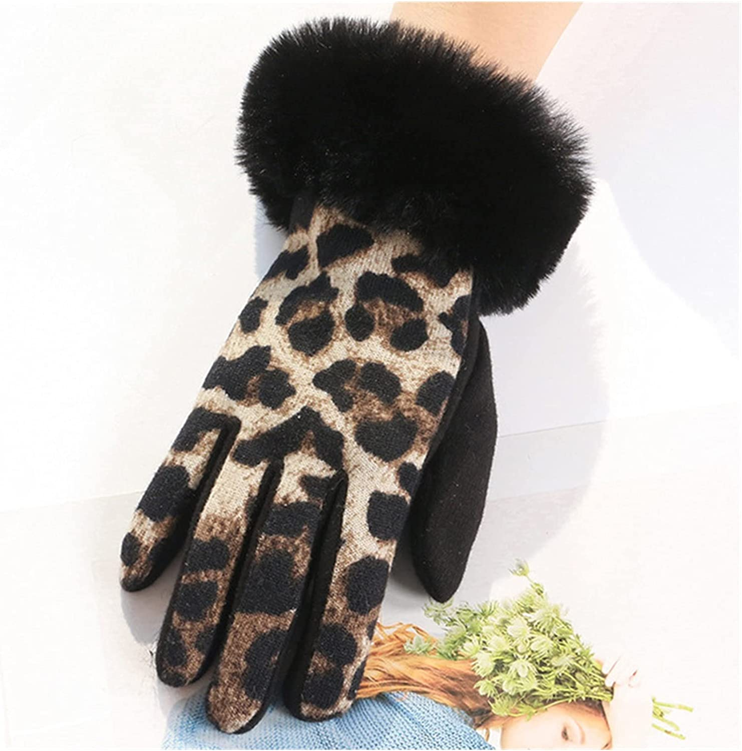 CHHNGPON Bridal Gloves Fashion Personality Leopard spot Soft Plush Touch Screen Ladies Gloves Plus Velvet Driving Inside to Keep Warm and Cold (Color : Khaki, Gloves Size : One Size)