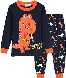dPois Pijamas Conjuntos 2 Piezas Manga Larga de Algodón Ropa de Dormir Dinosaurios Estampados para Niños 3-8 años