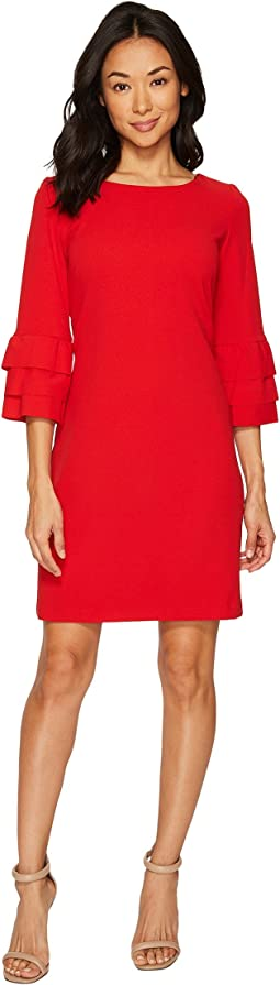 Crepe Shift Dress w/ Ruffle Sleeves