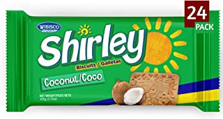 Wibisco Shirley Coconut Biscuits, 3.7 Ounce (Pack of 24) Real bits of Coconut, Ideal for Breakfast, Snack, Dessert, Coffee...