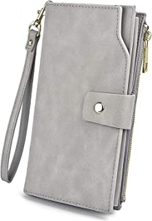 UTO Women's RFID Blocking PU Leather Long Wallet Clutch 21 Card Slots Holder Organizer Ladies Purse with Wristband Large Capacity Inner Pocket Fits 5.5'' Cellphones Grey