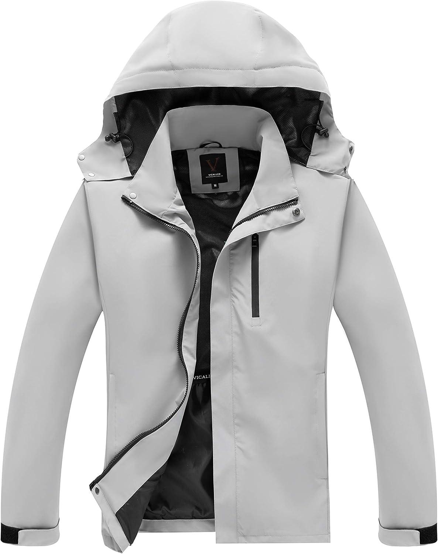 VICALLED Men's Shell Jacket Lightweight Waterproof Hooded Outdoor Raincoat Windbreaker Jacket for Hiking Travel