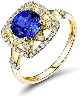 Daesar Anelli Donna Fidanzamento Oro Giallo 18K, Anello con Tanzanite 1.24ct Piazza Anelli Oro Matrimonio