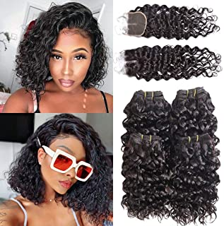 Luxnovolex Bundles with Closure Water Wave 10 inch Wet and Wavy Curly Brazilian Human Hair Bundles With Middle Part Closure Sewn in Human Hair Extension 50g/Bundle(10 10 10 10 with 10)