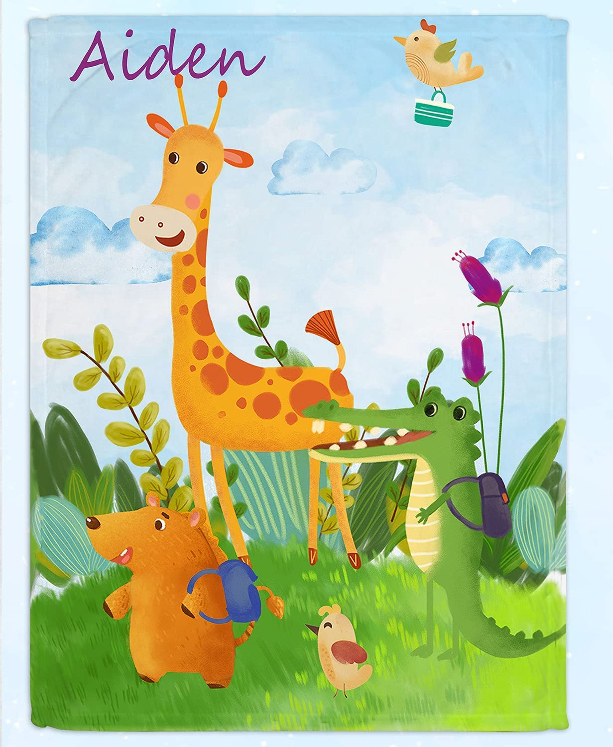 Personalized Blanket- Max 85% OFF Cartoon Aiden Baby Gi Name Blanket Free Shipping New Animal