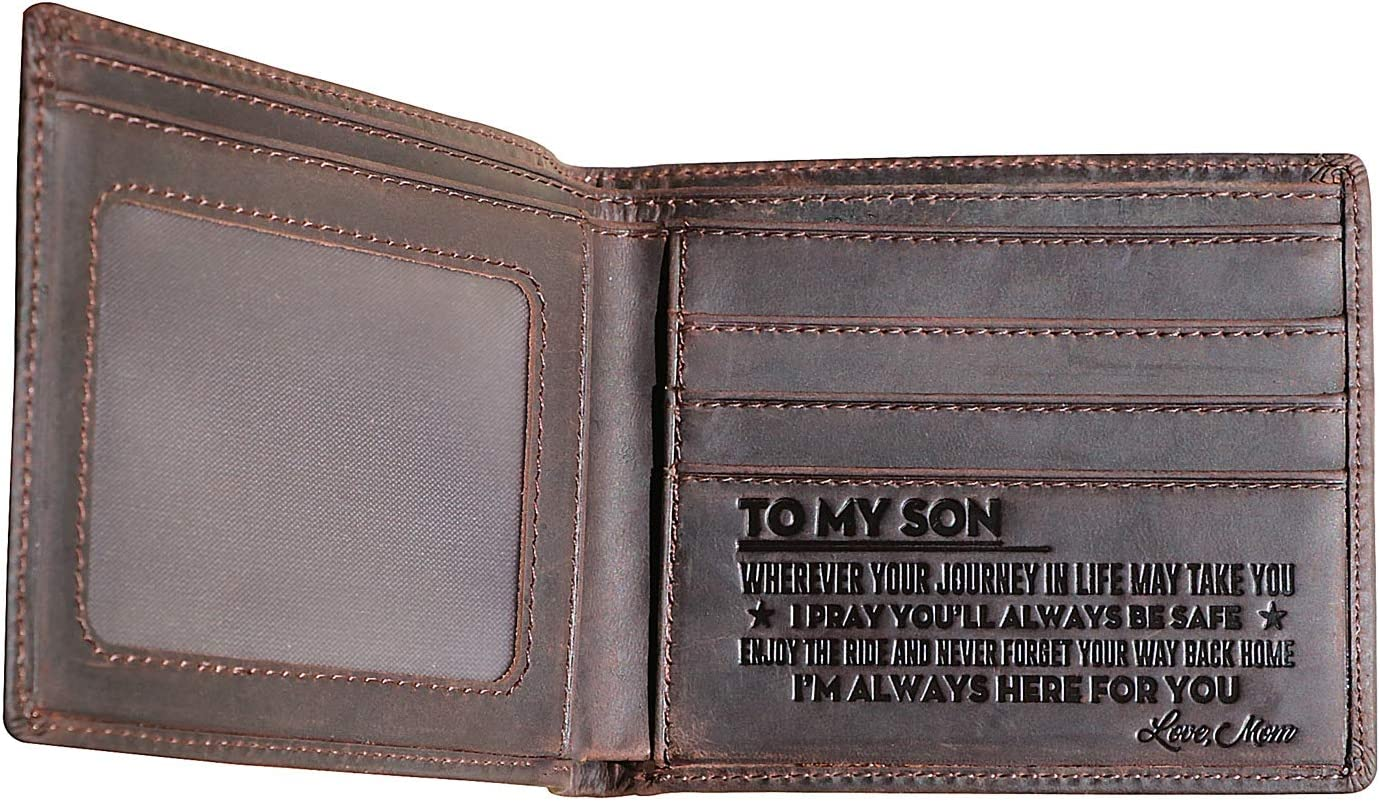 Hademade Mens Leather Wallet Engraved Wallet Genuine Leather Bifold RFID Blocking Wallet Gifts with Wood Box Mom to Son