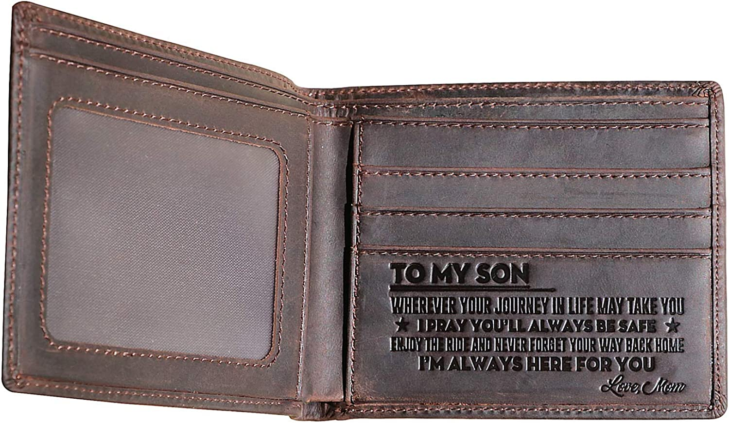 Engraved Bifold Wallet for Son-Sons Wallet from Mom,Mom to Son Dad to Son Wallets Men Wallet with Saying